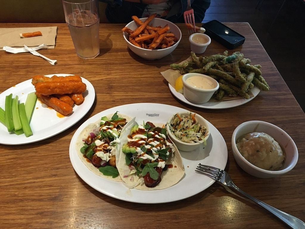 """Photo of Veggie Grill  by <a href=""""/members/profile/Tigra220"""">Tigra220</a> <br/>Koreatown Tacos, Buffalo Wings, Sweet Potato Fries, Tempura Green Beans, Mashed Cauli-Potatoes  <br/> August 7, 2016  - <a href='/contact/abuse/image/40894/166579'>Report</a>"""