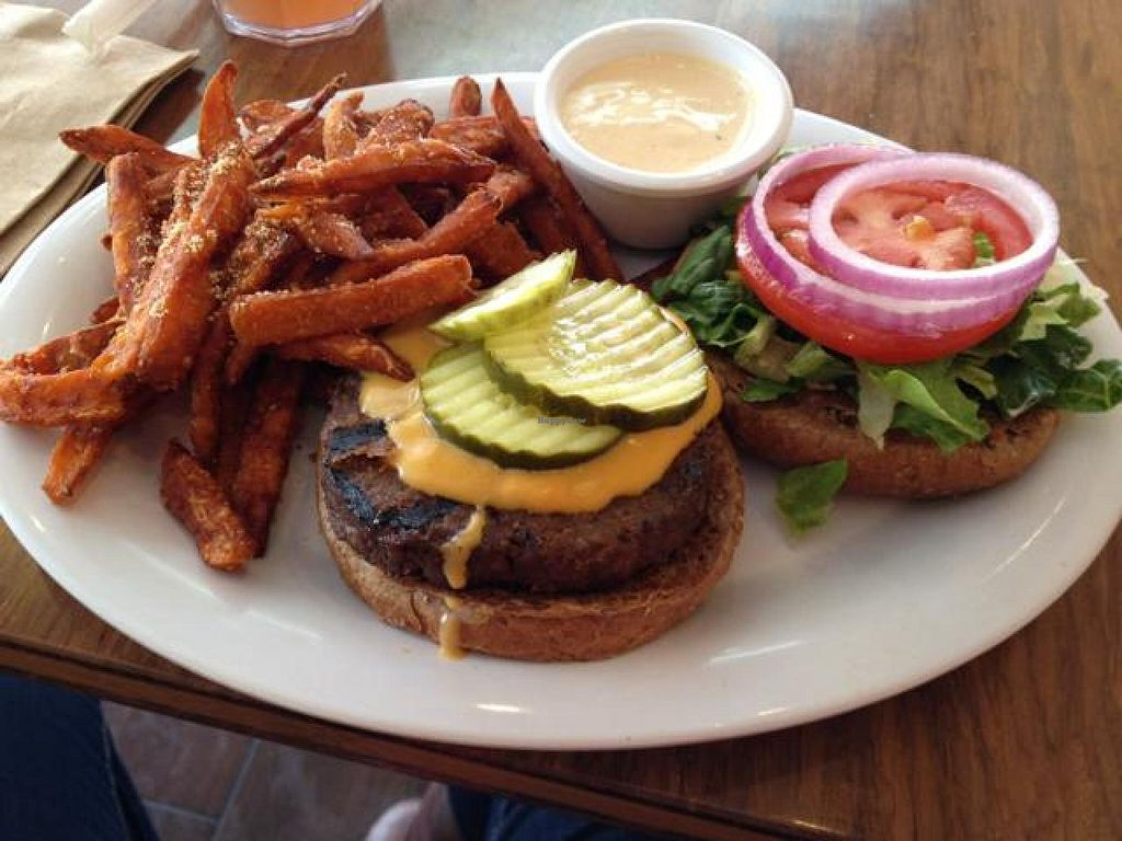 """Photo of Veggie Grill  by <a href=""""/members/profile/nardanddee"""">nardanddee</a> <br/>VG Cheeseburger with sweet potato fries <br/> April 4, 2014  - <a href='/contact/abuse/image/40894/67039'>Report</a>"""