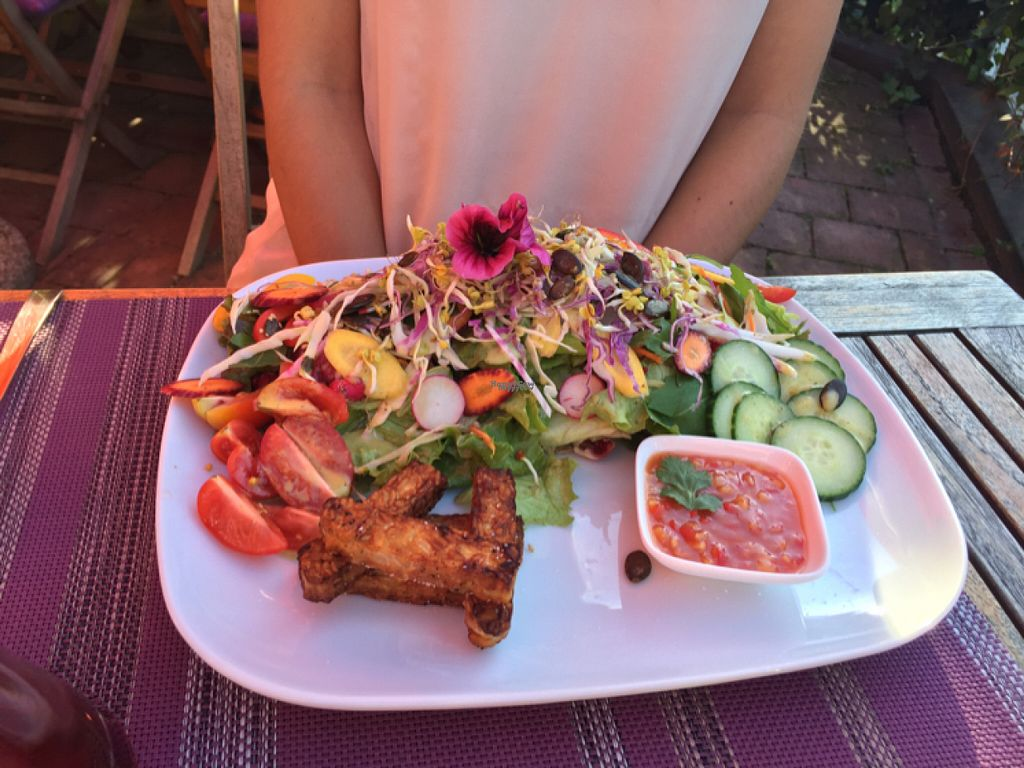"""Photo of Karin's  by <a href=""""/members/profile/Cucuscampi"""">Cucuscampi</a> <br/>Salat mit Tempeh-Sticks <br/> August 23, 2016  - <a href='/contact/abuse/image/40896/171068'>Report</a>"""