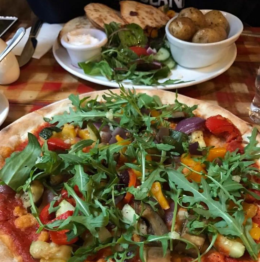 """Photo of Fat Freddy's  by <a href=""""/members/profile/Umbridge92"""">Umbridge92</a> <br/>Pizza with vegan cheese and vegan quesadillas!!!! DELICIOUS :) <br/> May 4, 2017  - <a href='/contact/abuse/image/40910/255615'>Report</a>"""