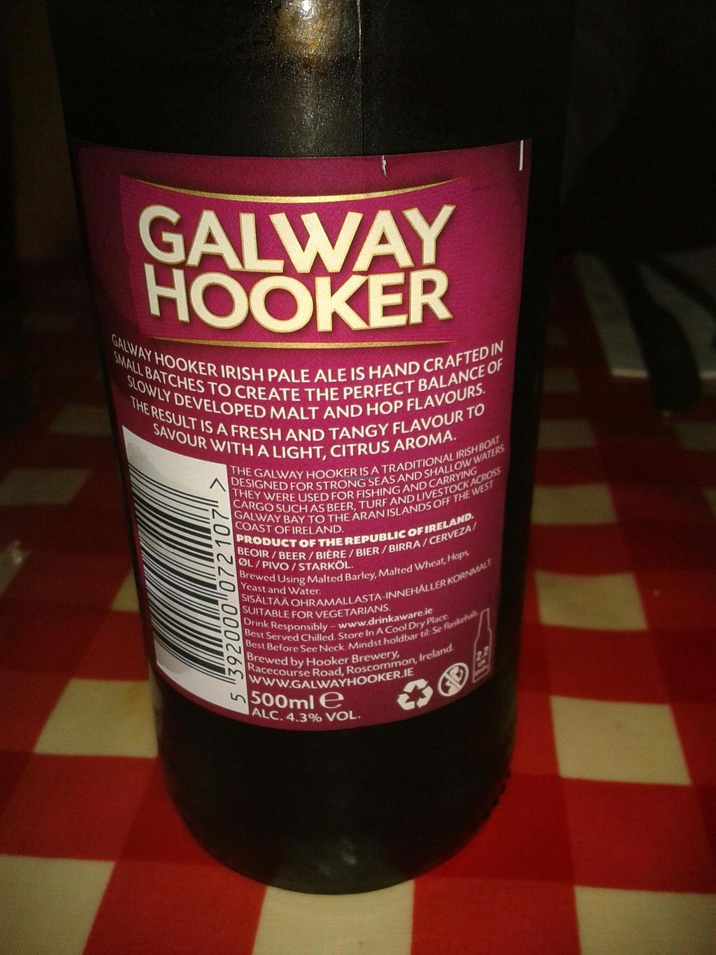 """Photo of Fat Freddy's  by <a href=""""/members/profile/JonJon"""">JonJon</a> <br/>Beer Galway Hooker suitable for vegetarians <br/> May 8, 2014  - <a href='/contact/abuse/image/40910/69626'>Report</a>"""