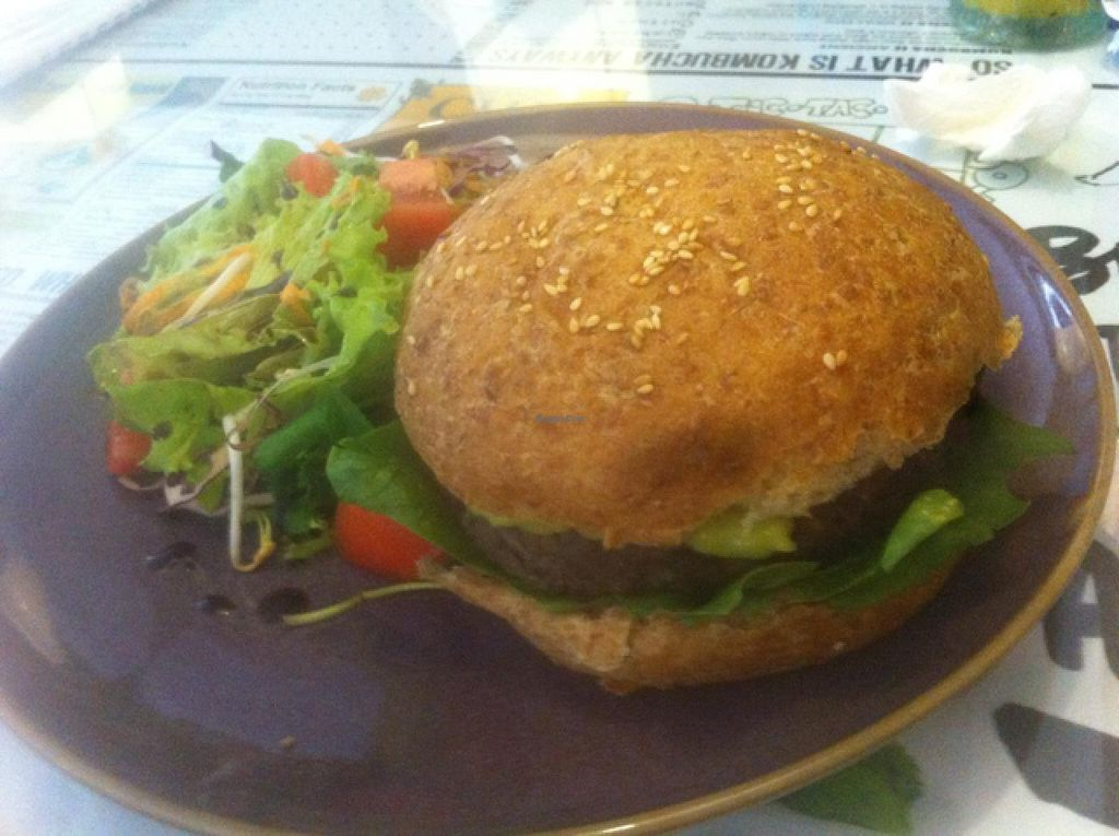 "Photo of Zenith Yoga Cafe  by <a href=""/members/profile/Hellavegan"">Hellavegan</a> <br/>caramelized zuccini and black bean burger <br/> March 14, 2014  - <a href='/contact/abuse/image/41001/65863'>Report</a>"