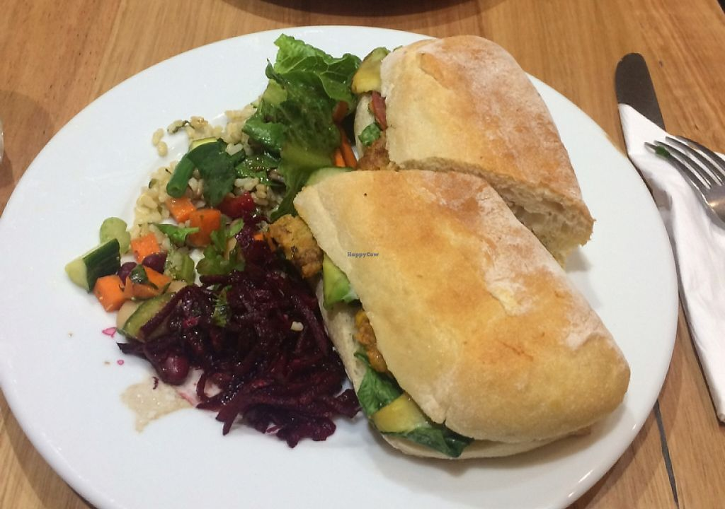 """Photo of Dymocks Melbourne Cafe  by <a href=""""/members/profile/stephjc"""">stephjc</a> <br/>vegetarian focaccia and a vegan pie  <br/> March 20, 2016  - <a href='/contact/abuse/image/41023/260065'>Report</a>"""