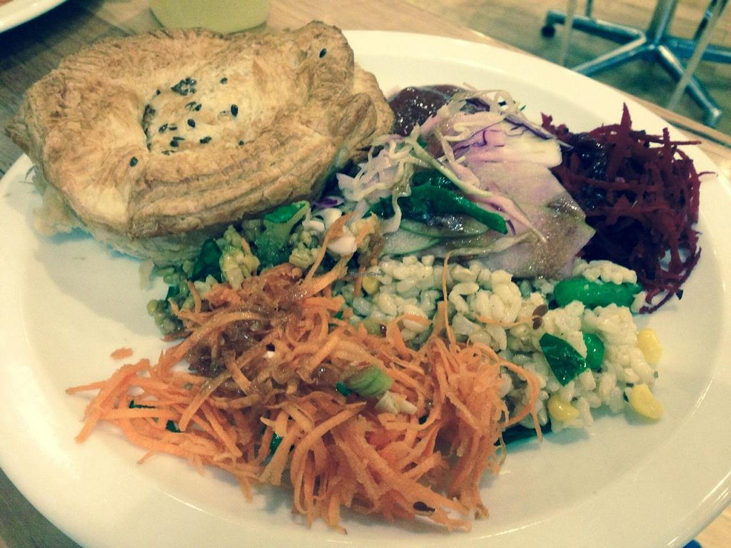 """Photo of Dymocks Melbourne Cafe  by <a href=""""/members/profile/Tiggy"""">Tiggy</a> <br/>Funky Chunky vegan pie (from Funky Pies) with salad <br/> September 20, 2014  - <a href='/contact/abuse/image/41023/80549'>Report</a>"""