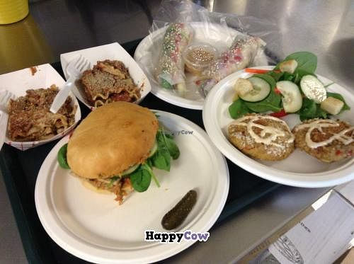 "Photo of CLOSED: Unity Vegan Kitchen - Food Truck  by <a href=""/members/profile/leslieshawn"">leslieshawn</a> <br/>Lasagne, spring rolls, crab cakes and sun dried tomato pesto and tofu sandwich <br/> September 2, 2013  - <a href='/contact/abuse/image/41054/54213'>Report</a>"
