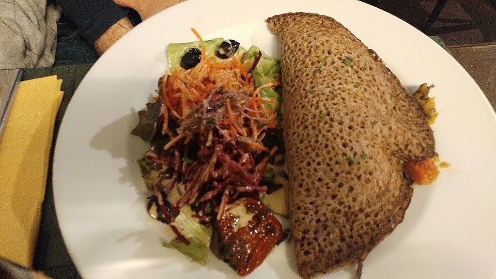 """Photo of Le Potager du Marais  by <a href=""""/members/profile/SaraMarkic"""">SaraMarkic</a> <br/>buckwheat pancake with mushrooms and leek <br/> December 5, 2017  - <a href='/contact/abuse/image/4106/332578'>Report</a>"""