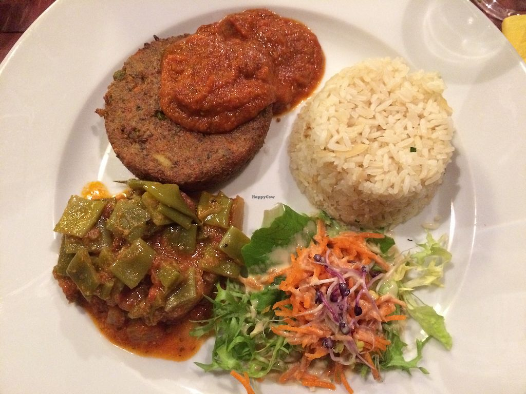 """Photo of Le Potager du Marais  by <a href=""""/members/profile/LiaTraballero"""">LiaTraballero</a> <br/>Quinoa burger with provencale sause, rice&amomd, vegetables and salad <br/> December 9, 2017  - <a href='/contact/abuse/image/4106/334024'>Report</a>"""