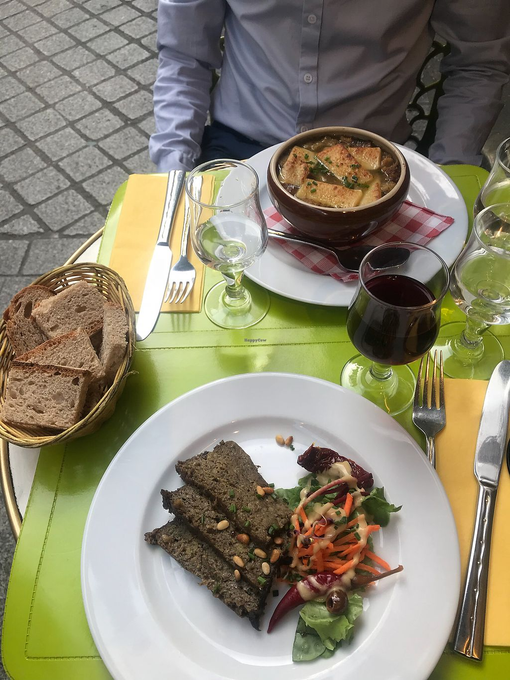 """Photo of Le Potager du Marais  by <a href=""""/members/profile/smd2688"""">smd2688</a> <br/>Mushroom pate and Onion soup  <br/> April 18, 2018  - <a href='/contact/abuse/image/4106/387841'>Report</a>"""