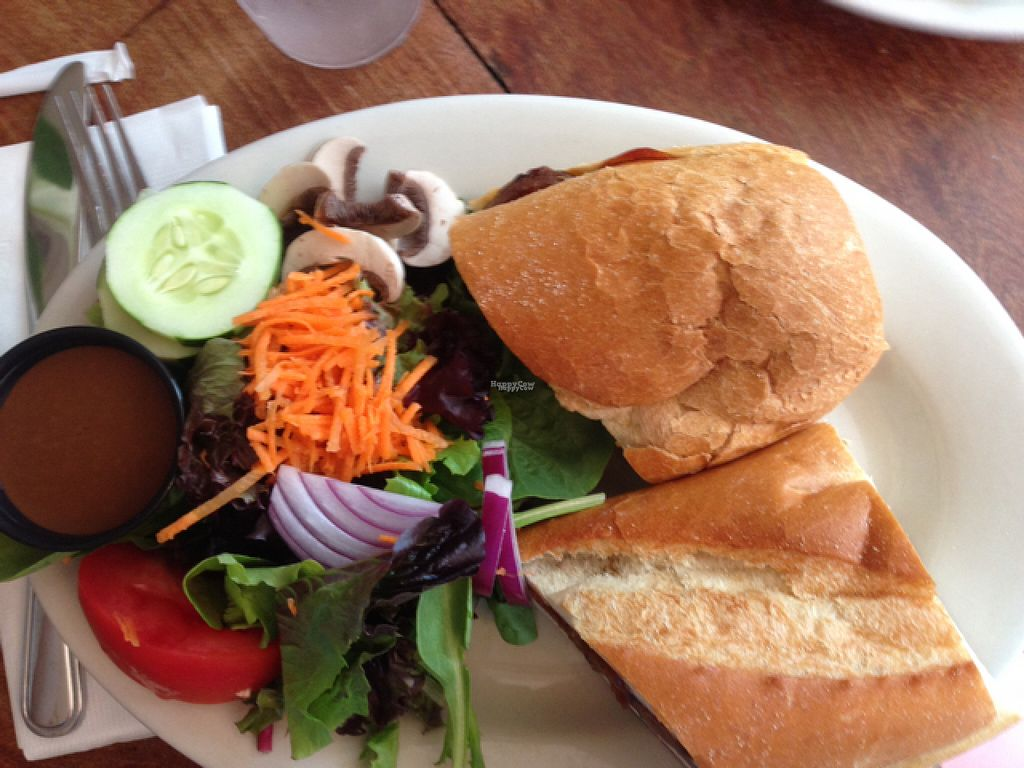 """Photo of Cafe Con Leche  by <a href=""""/members/profile/Jamie%20Roberts"""">Jamie Roberts</a> <br/>Delicious salad and vegan pulled """"pork"""" sandwich! <br/> August 11, 2016  - <a href='/contact/abuse/image/41080/167733'>Report</a>"""