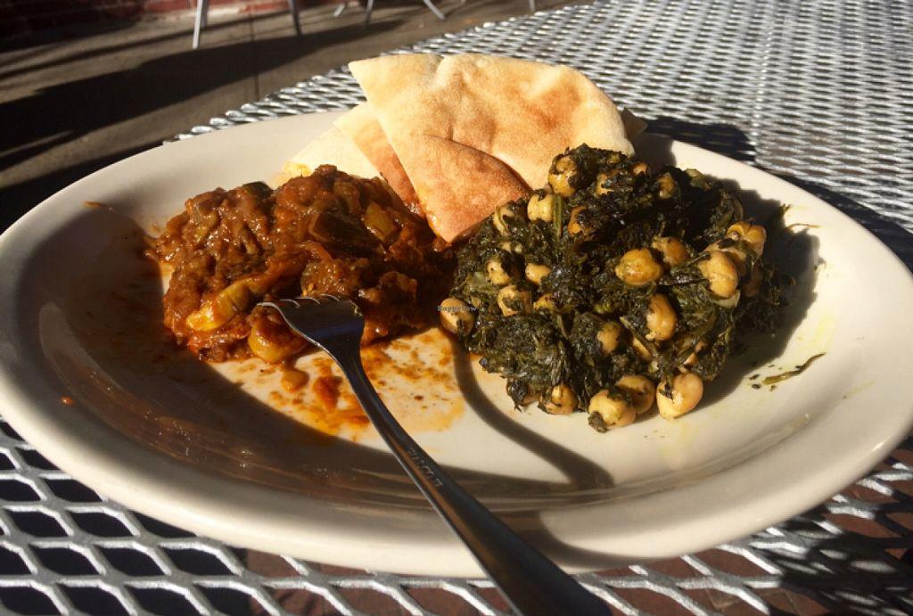 "Photo of Mediterranean Deli  by <a href=""/members/profile/Irynatango"">Irynatango</a> <br/>Veggie sampler- eggplant squash stew & chickpea spinach salad <br/> November 21, 2015  - <a href='/contact/abuse/image/41156/125705'>Report</a>"