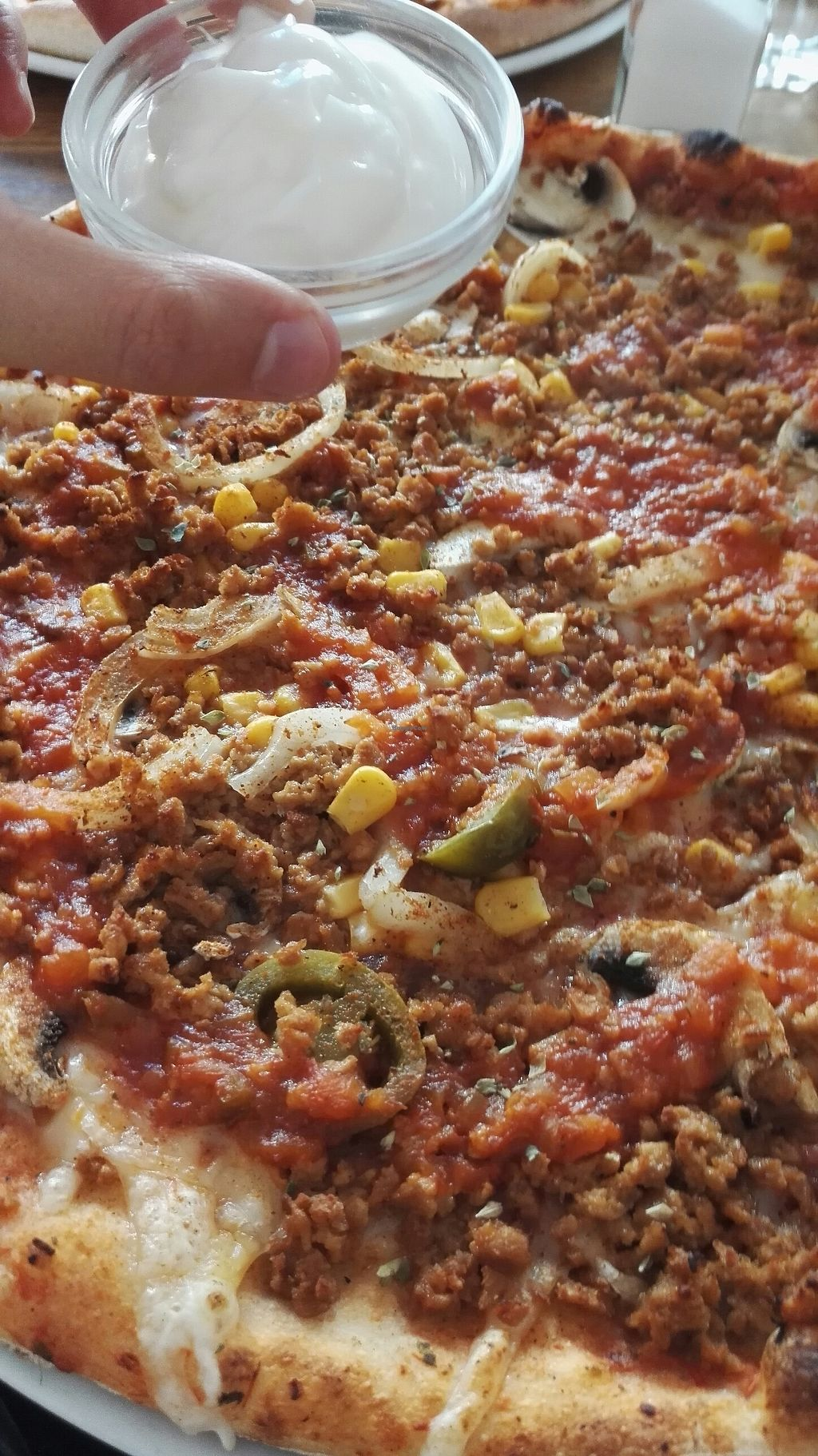 """Photo of Dennisos Pizzeria  by <a href=""""/members/profile/Miio%20Seppaenen"""">Miio Seppaenen</a> <br/>new mexicana pizza with garlic sauce <br/> July 8, 2017  - <a href='/contact/abuse/image/41237/277970'>Report</a>"""