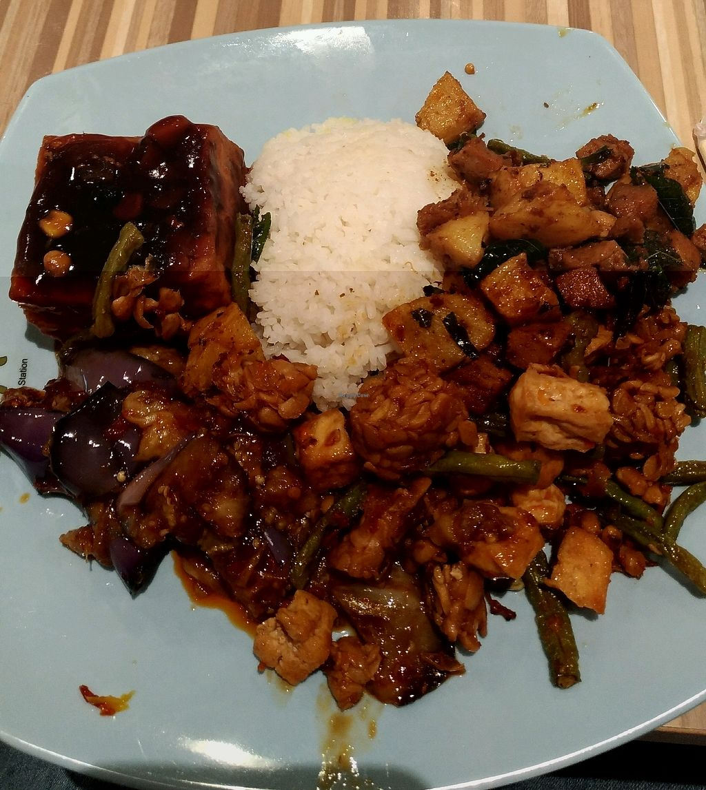 """Photo of Eight Immortals - Jurong East  by <a href=""""/members/profile/mayting%4096"""">mayting@96</a> <br/>plain white rice with 4 sides; tofu, tempeh, potato w basil & brinjal <br/> February 28, 2018  - <a href='/contact/abuse/image/41240/364882'>Report</a>"""