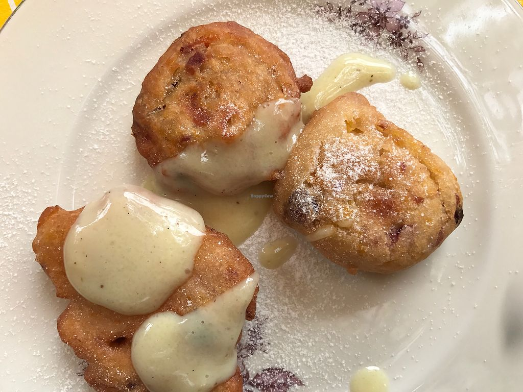 """Photo of La Cena di Pitagora  by <a href=""""/members/profile/NatalieDowelMcIntosh"""">NatalieDowelMcIntosh</a> <br/>Fritters with peach, raisin and vanilla cream  <br/> August 15, 2017  - <a href='/contact/abuse/image/41273/293028'>Report</a>"""