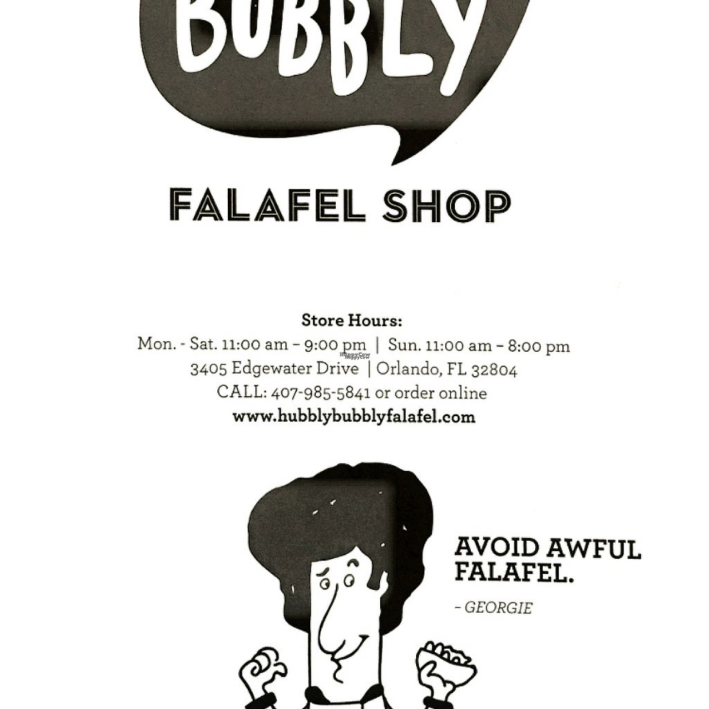 """Photo of Hubbly Bubbly Falafel Shop  by <a href=""""/members/profile/KWdaddio"""">KWdaddio</a> <br/>menu <br/> December 31, 2016  - <a href='/contact/abuse/image/41515/206594'>Report</a>"""