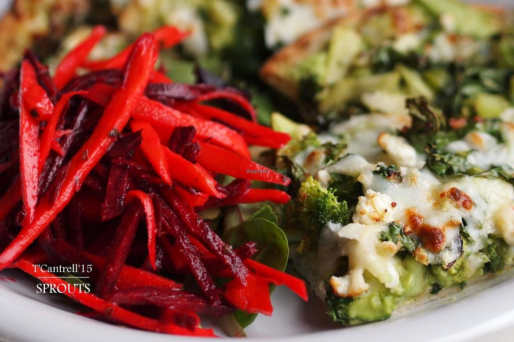 """Photo of Sprouts Cafe  by <a href=""""/members/profile/TammyCantrell"""">TammyCantrell</a> <br/>Green Veggie Pizza! Our Organic, Marinated Green Veggies including: Kale, Zucchini, Celery, Broccoli, Brussels Sprouts, and Bell Peppers on a Traditional Crust with Creamy Tangy Avocado Base and 3-cheese blend!  <br/> March 23, 2015  - <a href='/contact/abuse/image/41561/96661'>Report</a>"""