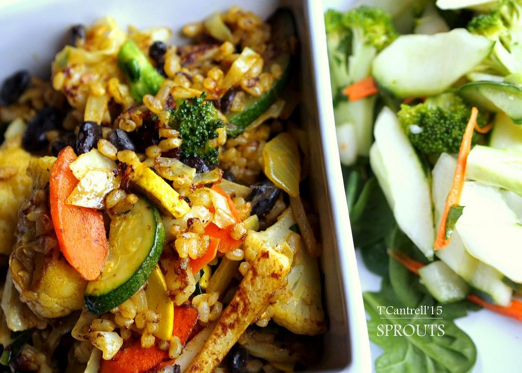 """Photo of Sprouts Cafe  by <a href=""""/members/profile/TammyCantrell"""">TammyCantrell</a> <br/>Today's special is a Brown Rice & Black Bean Coconut Curry Stir Fry! Our Organic Brown Rice & Black Beans grilled with Kale, Cabbage, Zucchini, Yellow Squash, Carrots, Turnips, & Broccoli tossed with a Sweet and Sour  Green Curry Coconut Milk Sauce! <br/> April 6, 2015  - <a href='/contact/abuse/image/41561/98025'>Report</a>"""