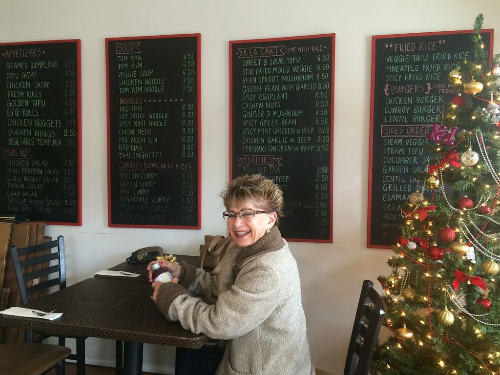 """Photo of Veggie House  by <a href=""""/members/profile/serrarose"""">serrarose</a> <br/>Menu selection and a happy grandma <br/> December 27, 2015  - <a href='/contact/abuse/image/41594/130027'>Report</a>"""