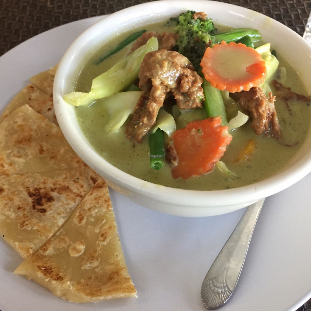"""Photo of Veggie House  by <a href=""""/members/profile/LinnDaugherty"""">LinnDaugherty</a> <br/>green curry """"beef"""" with roti Tasty! <br/> March 1, 2017  - <a href='/contact/abuse/image/41594/231379'>Report</a>"""