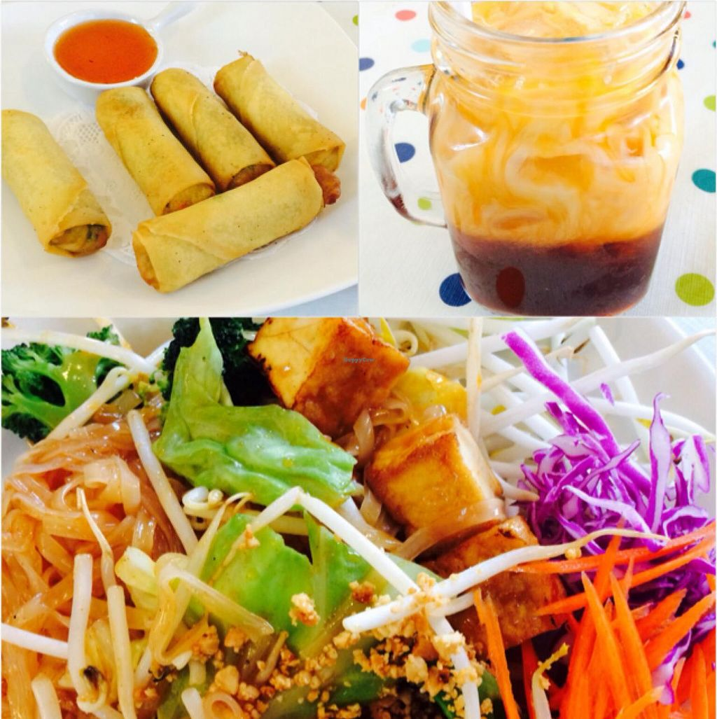 """Photo of Veggie House  by <a href=""""/members/profile/Ortizt8"""">Ortizt8</a> <br/>pad thai, egg rolls, thai tea  <br/> February 21, 2015  - <a href='/contact/abuse/image/41594/93639'>Report</a>"""