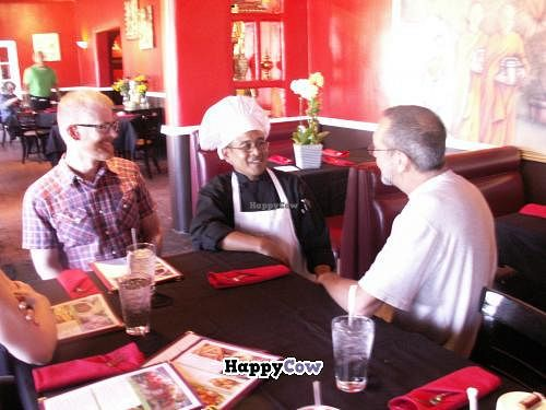 """Photo of CLOSED: Thai Vegan  by <a href=""""/members/profile/nmveggiegirl"""">nmveggiegirl</a> <br/>Chef Pat came out to make sure that we were all happy with our choices and the service~ <br/> September 30, 2013  - <a href='/contact/abuse/image/41622/56063'>Report</a>"""