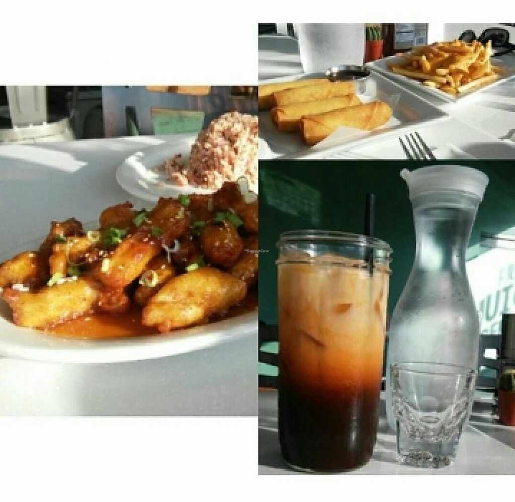 """Photo of My Vegan Gold  by <a href=""""/members/profile/yourmoderndayhippie"""">yourmoderndayhippie</a> <br/>Thai iced tea, egg rolls, cheez fries, and orange chicken <br/> March 22, 2016  - <a href='/contact/abuse/image/41660/140916'>Report</a>"""