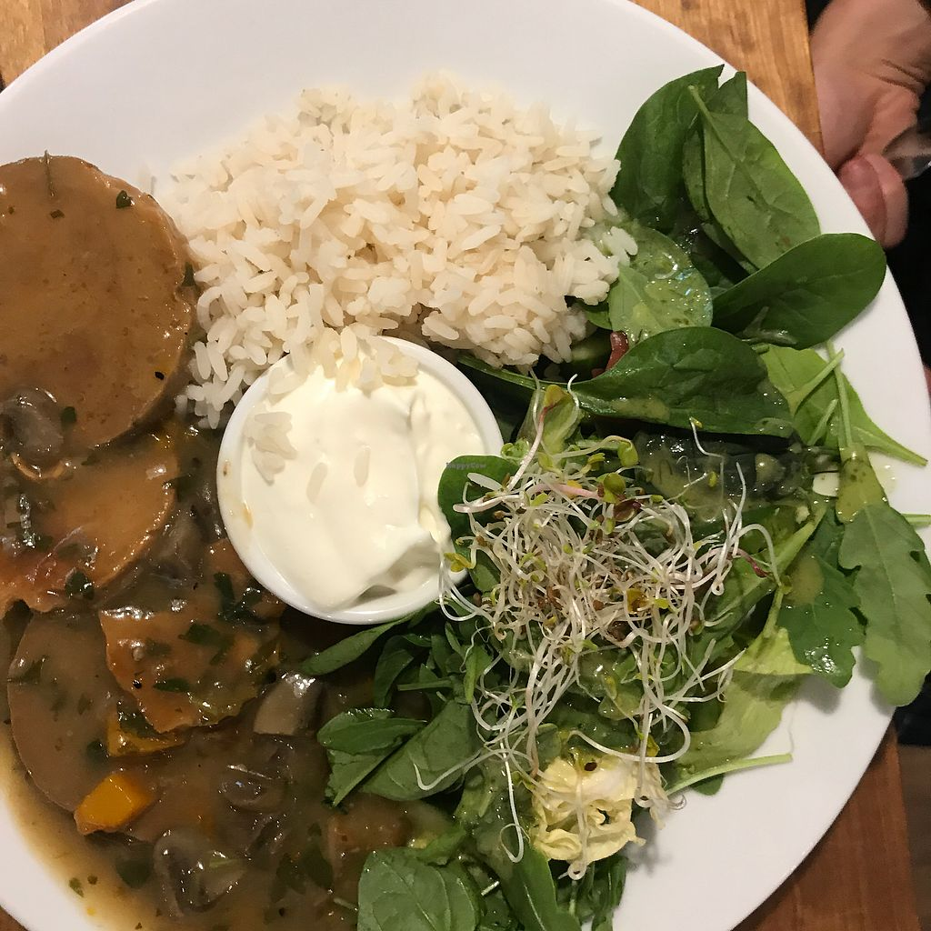 "Photo of Avocado Vegan Bistro - Wajdeloty  by <a href=""/members/profile/The%20London%20Vegan"">The London Vegan</a> <br/>Seiten cutlets with mushroom sauce and rice!  <br/> July 25, 2017  - <a href='/contact/abuse/image/41675/284756'>Report</a>"