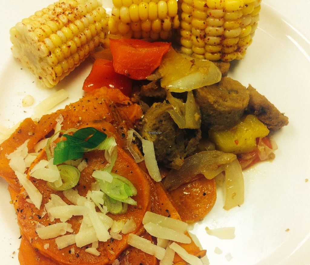 """Photo of Whole Health  by <a href=""""/members/profile/megster3"""">megster3</a> <br/>Veggie Field Roast sausage w/sweet potato hash <br/> August 4, 2014  - <a href='/contact/abuse/image/41677/75930'>Report</a>"""
