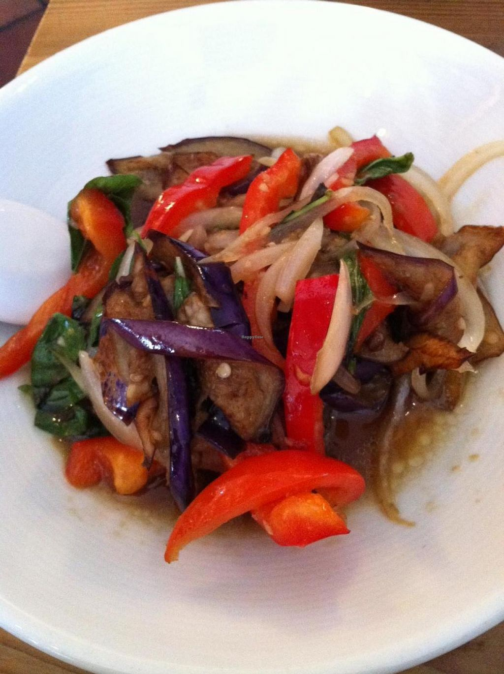 """Photo of Bob likes Thai Food  by <a href=""""/members/profile/vegan%20frog"""">vegan frog</a> <br/>Veganized EGGPLANT PAD KA POW  <br/> September 7, 2014  - <a href='/contact/abuse/image/41686/79354'>Report</a>"""