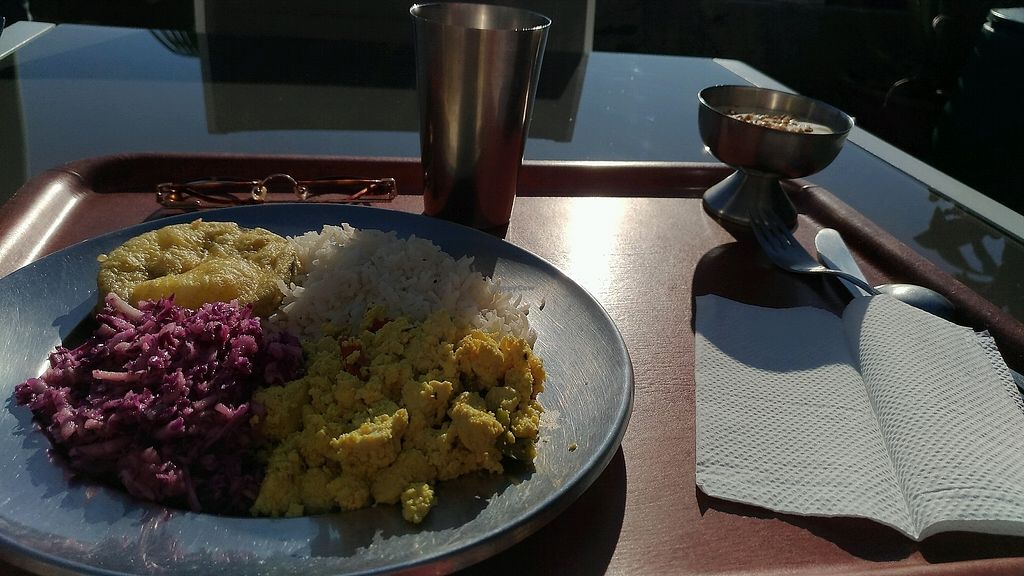 """Photo of O Oriente no Porto  by <a href=""""/members/profile/MairaS"""">MairaS</a> <br/>tofu, cabbage salad, fried eggplant and rice, with tea and mango dessert <br/> December 22, 2017  - <a href='/contact/abuse/image/4170/338088'>Report</a>"""