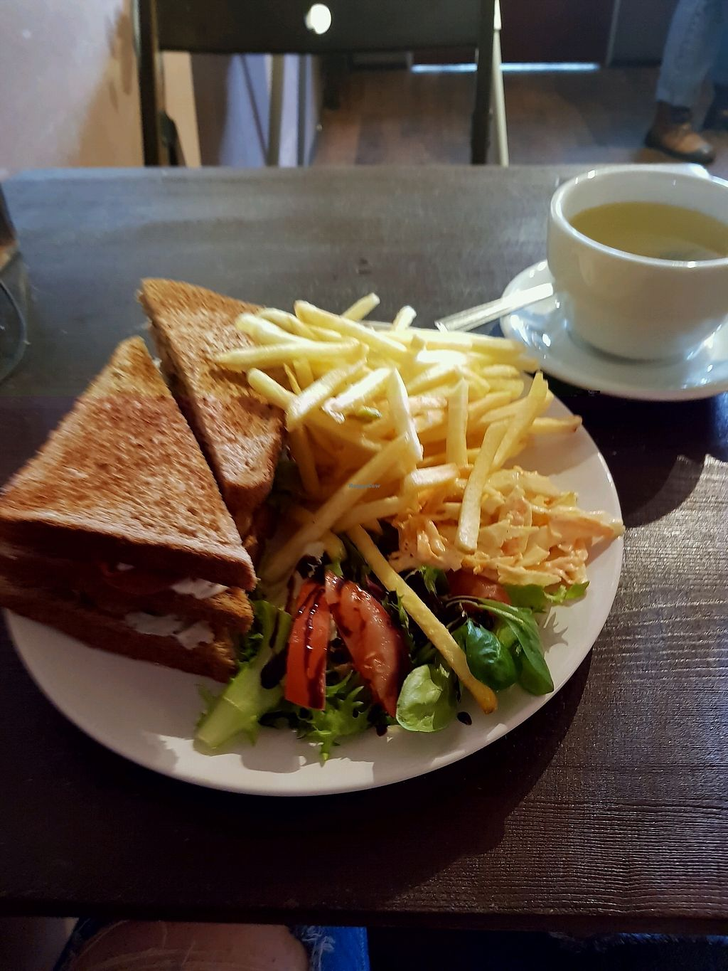 """Photo of Teatime Collective  by <a href=""""/members/profile/MoniqueNelson"""">MoniqueNelson</a> <br/>Club Sandwich,  served with fries, coleslaw and a salad <br/> November 10, 2017  - <a href='/contact/abuse/image/41717/323856'>Report</a>"""