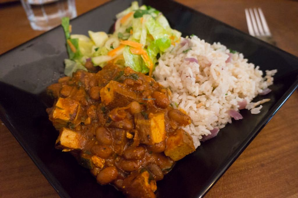 """Photo of Vegan Bar  by <a href=""""/members/profile/biancah"""">biancah</a> <br/>Smoked tofu and beans stew with rice and salad from the daily menu <br/> July 4, 2016  - <a href='/contact/abuse/image/41723/157718'>Report</a>"""