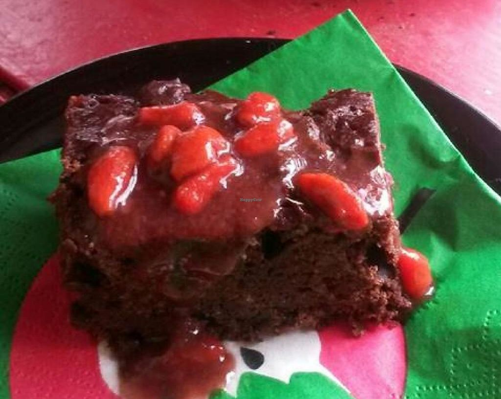 """Photo of Vegan Bar  by <a href=""""/members/profile/CheshireCat"""">CheshireCat</a> <br/>chocolate-carob brownie with goji sauce <br/> February 20, 2014  - <a href='/contact/abuse/image/41723/243639'>Report</a>"""