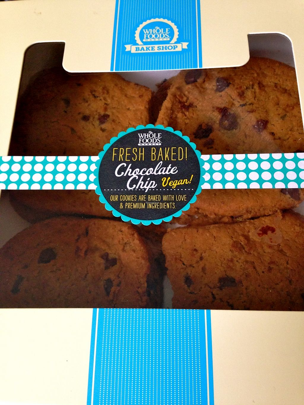 """Photo of Whole Foods Market  by <a href=""""/members/profile/myra975"""">myra975</a> <br/>Large vegan chocolate chip cookies ($12) <br/> September 3, 2015  - <a href='/contact/abuse/image/41738/116354'>Report</a>"""