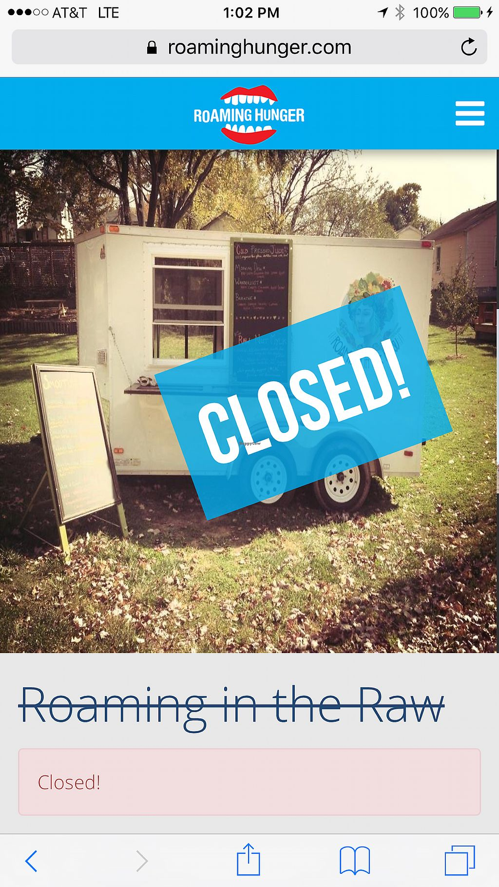 """Photo of CLOSED: Roaming in the Raw - Food Truck  by <a href=""""/members/profile/ashapants"""">ashapants</a> <br/>closed :( <br/> July 31, 2017  - <a href='/contact/abuse/image/41769/287213'>Report</a>"""