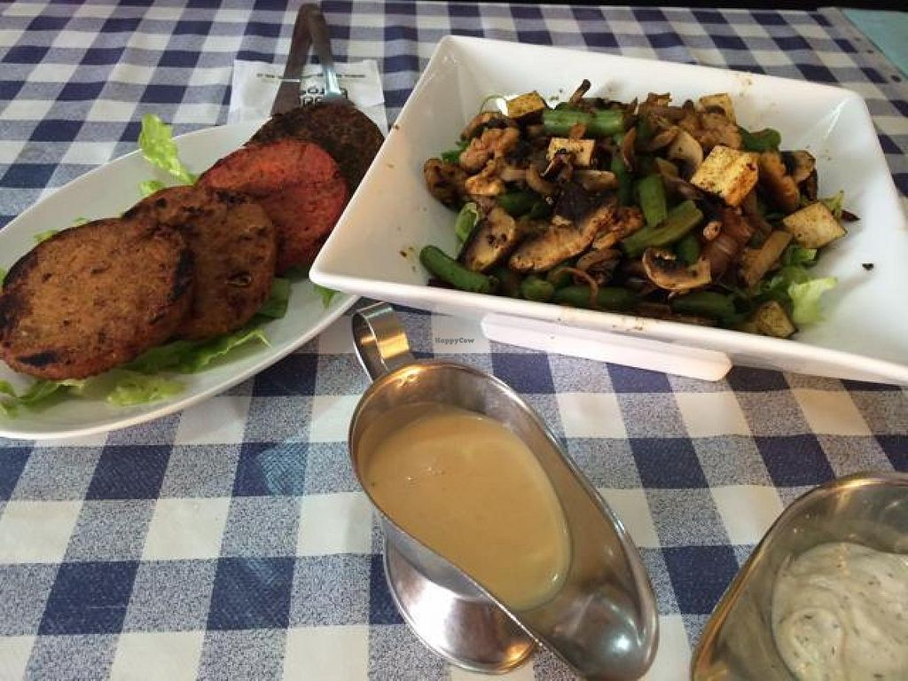 """Photo of CLOSED: Buddha Burgers - Eliat  by <a href=""""/members/profile/YahelSherman"""">YahelSherman</a> <br/>hot mushroom salad & veggie kzizor ( in Hebrew language ) <br/> March 27, 2014  - <a href='/contact/abuse/image/41778/66629'>Report</a>"""