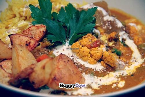"""Photo of CLOSED: Cafe Bamboo  by <a href=""""/members/profile/Luna%20Maanebarn"""">Luna Maanebarn</a> <br/>Punjabi Curry with yellow rice, vegan cream, sesamesalt, mango chutney and ovenbaked bombay chili potatoes! <br/> September 19, 2013  - <a href='/contact/abuse/image/41812/55291'>Report</a>"""