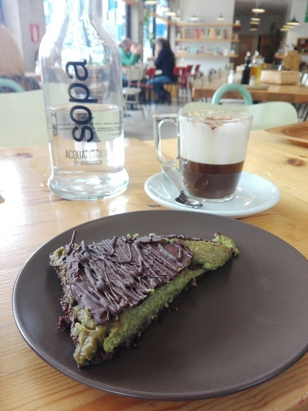 """Photo of Sopa - Boronat  by <a href=""""/members/profile/Pteri"""">Pteri</a> <br/>Great vegan and sugar free cake (matcha and banana with a chia base) and chicory cappuccino <br/> April 30, 2017  - <a href='/contact/abuse/image/41858/254179'>Report</a>"""