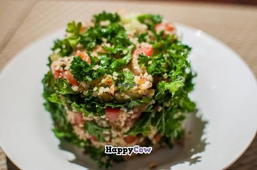 """Photo of Health-Mart  by <a href=""""/members/profile/Thierry%20De%20Lage"""">Thierry De Lage</a> <br/>BULGUR WHEAT, TOMATOES, MINT, PARSLEY, CUCUMBERS, ONIONS, ALMOND, CANDIED PAPAYA, SEASONED WITH OLIVE OIL AND LEMON JUICE <br/> October 19, 2013  - <a href='/contact/abuse/image/41861/56902'>Report</a>"""