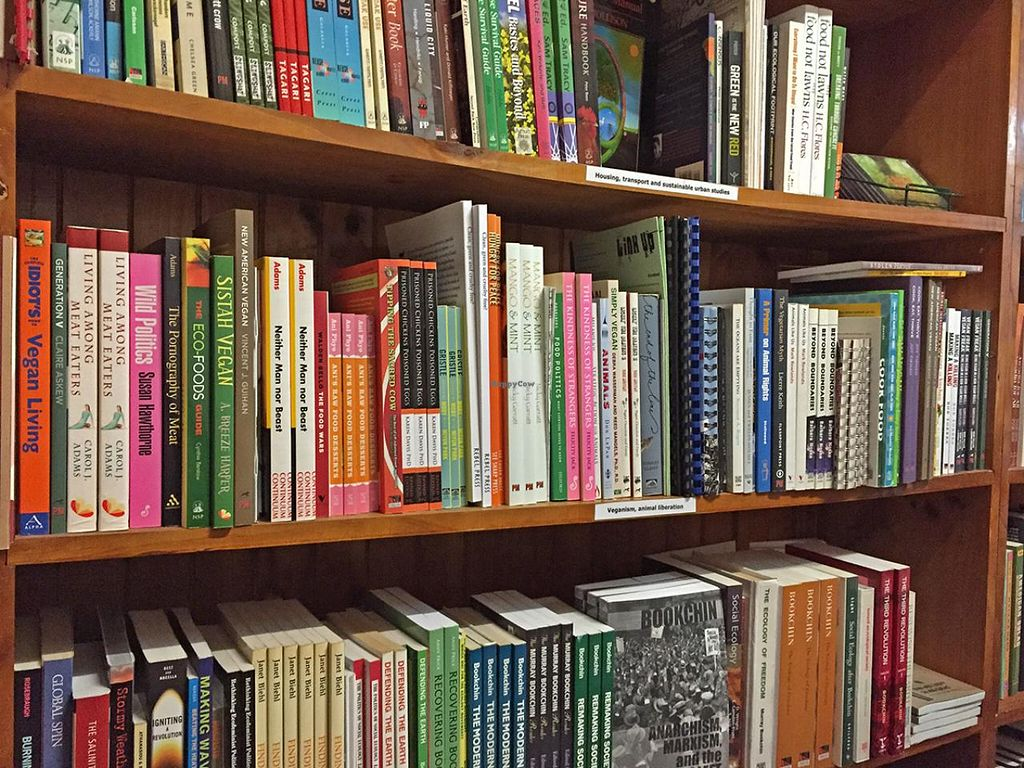 """Photo of Jura Books  by <a href=""""/members/profile/anarchistanimal"""">anarchistanimal</a> <br/>The shelf of vegan and animal rights books at Jura <br/> July 12, 2015  - <a href='/contact/abuse/image/41937/109135'>Report</a>"""