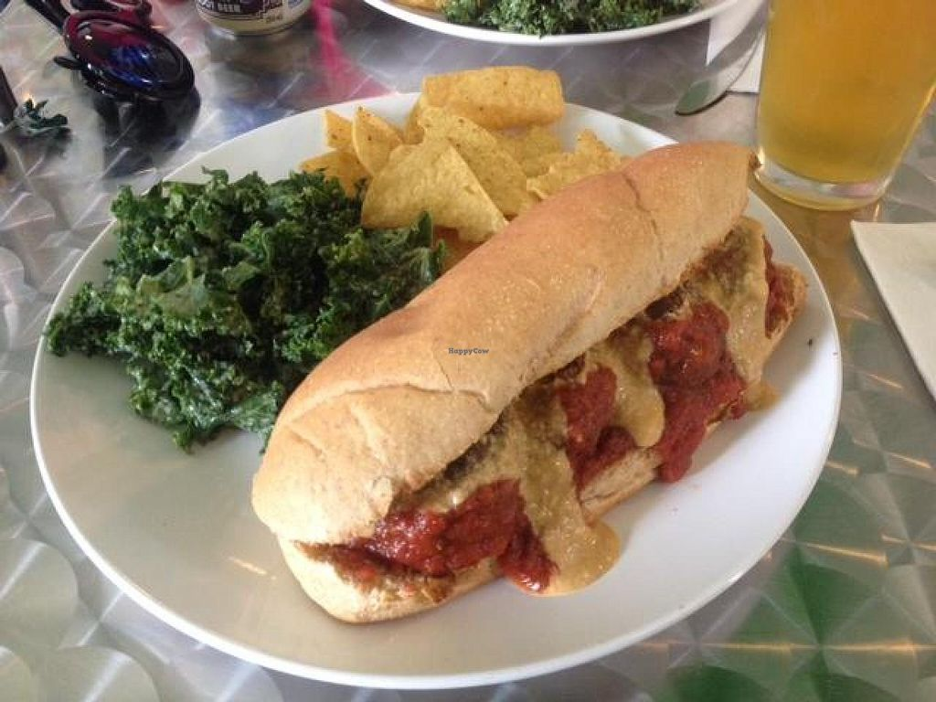 "Photo of Cashew  by <a href=""/members/profile/Anita%20Good%20Meal"">Anita Good Meal</a> <br/>Vegan meatball marinara sandwich, kale salad with amazing garlic lemon dressing <br/> April 28, 2014  - <a href='/contact/abuse/image/41952/68843'>Report</a>"