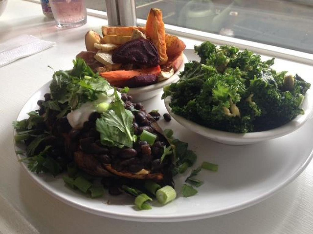 "Photo of Cashew  by <a href=""/members/profile/Anita%20Good%20Meal"">Anita Good Meal</a> <br/>Veggie plate: Kale salad, roasted roots, and half a Southwest stuffed sweet potato <br/> September 11, 2014  - <a href='/contact/abuse/image/41952/79609'>Report</a>"