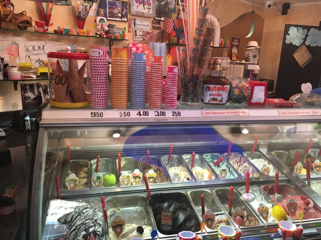 "Photo of Gelateria Valentino  by <a href=""/members/profile/RebeccaMorgan"">RebeccaMorgan</a> <br/>back left and 3rd from left front are vegan <br/> March 9, 2016  - <a href='/contact/abuse/image/41984/139408'>Report</a>"