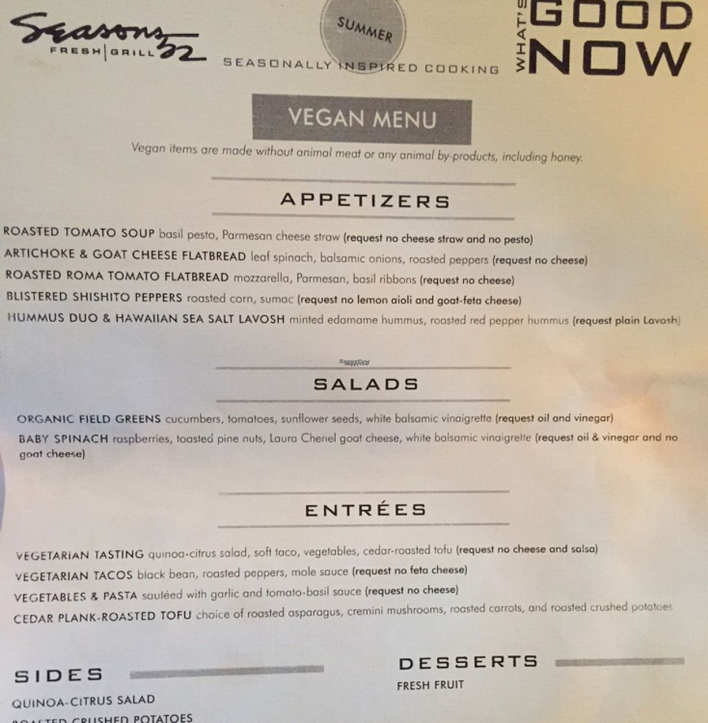 """Photo of Seasons 52  by <a href=""""/members/profile/axis777"""">axis777</a> <br/>The vegan menu at Seasons 52. Be sure to ask for it.  <br/> August 24, 2016  - <a href='/contact/abuse/image/42044/171151'>Report</a>"""