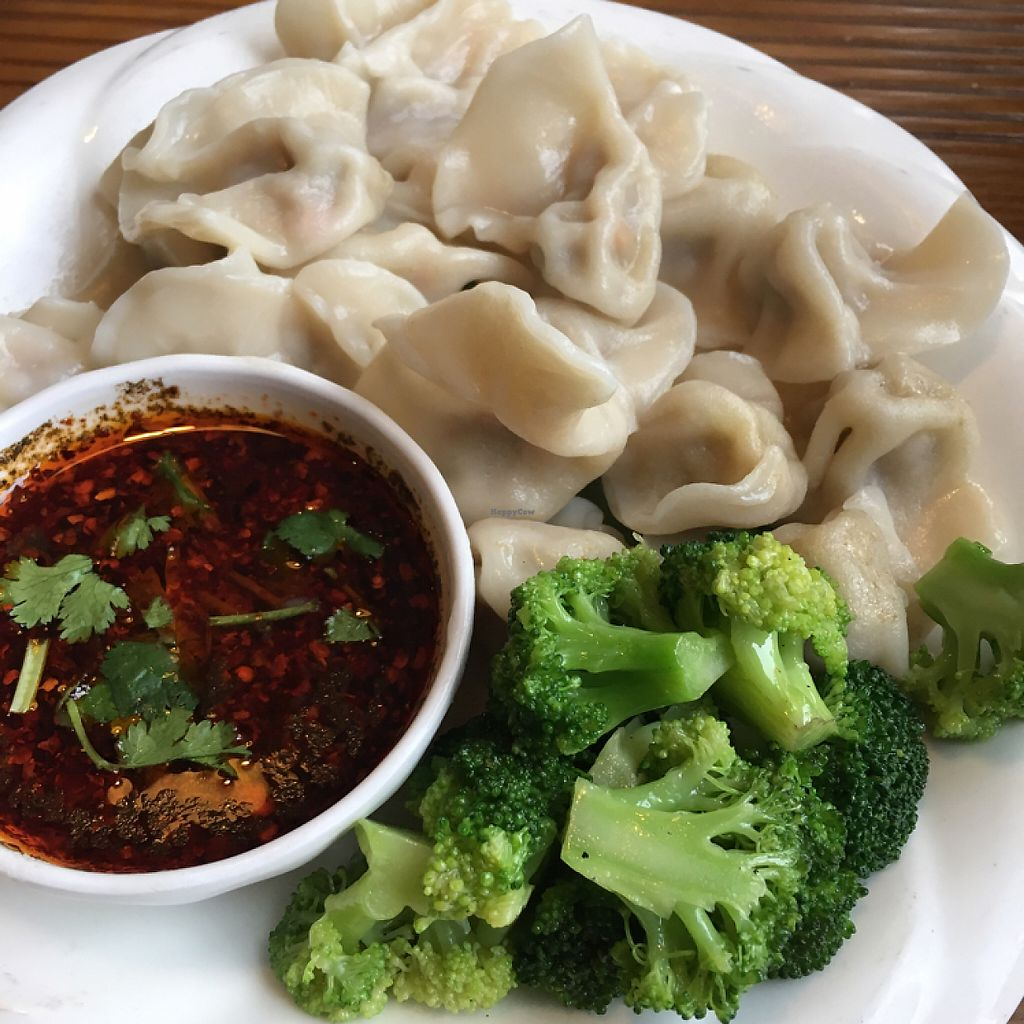 """Photo of Chanyue Xinyu Vegetarian House  by <a href=""""/members/profile/Plantriotic"""">Plantriotic</a> <br/>veggie dumpling ( not much filling but still yummy) <br/> May 15, 2017  - <a href='/contact/abuse/image/42077/258932'>Report</a>"""