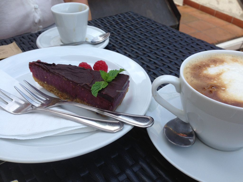 """Photo of CLOSED: LoVeg  by <a href=""""/members/profile/MichaelaSojak"""">MichaelaSojak</a> <br/>Raw vegan fruit cake with chocolate topping and spelt caffeine free coffee with soy milk  <br/> August 2, 2015  - <a href='/contact/abuse/image/42145/111973'>Report</a>"""