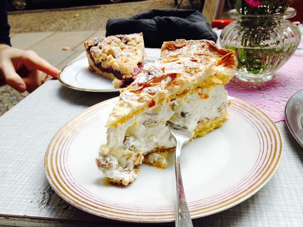 """Photo of REMOVED: Schones Cafe  by <a href=""""/members/profile/o0Carolyn0o"""">o0Carolyn0o</a> <br/>I was still vegetarian at the time of the photo. This is a strawberry """"baisertorte"""", the Stachelbeerbaisertorte was vegan the last time I was there, and they do have many vegan items, just ask for the desserts <br/> October 4, 2016  - <a href='/contact/abuse/image/42148/179716'>Report</a>"""