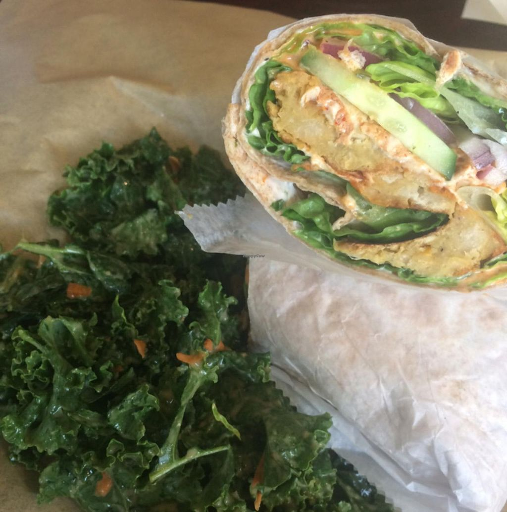 """Photo of PositiviTea  by <a href=""""/members/profile/VeganJDF"""">VeganJDF</a> <br/>Sauce Boss Wrap with Kale slaw - Delicious!! <br/> May 29, 2015  - <a href='/contact/abuse/image/42188/104049'>Report</a>"""