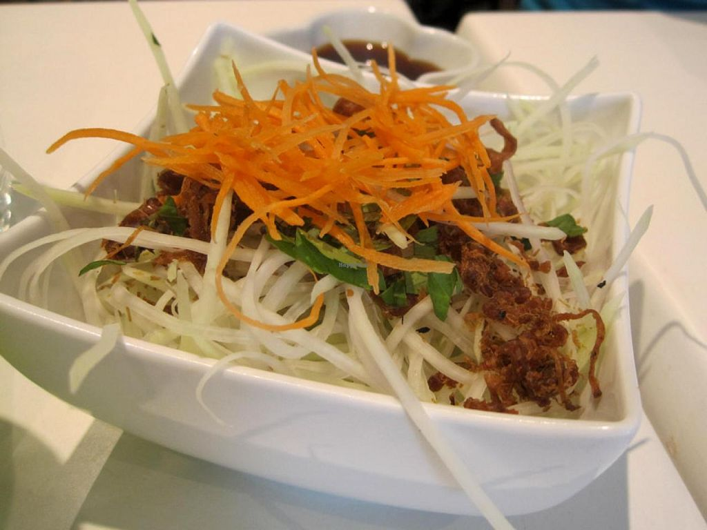 """Photo of CLOSED: Quan Bo De Cuisine Vegetarienne  by <a href=""""/members/profile/Babette"""">Babette</a> <br/>Green Papaya Salad <br/> July 14, 2015  - <a href='/contact/abuse/image/42200/109249'>Report</a>"""