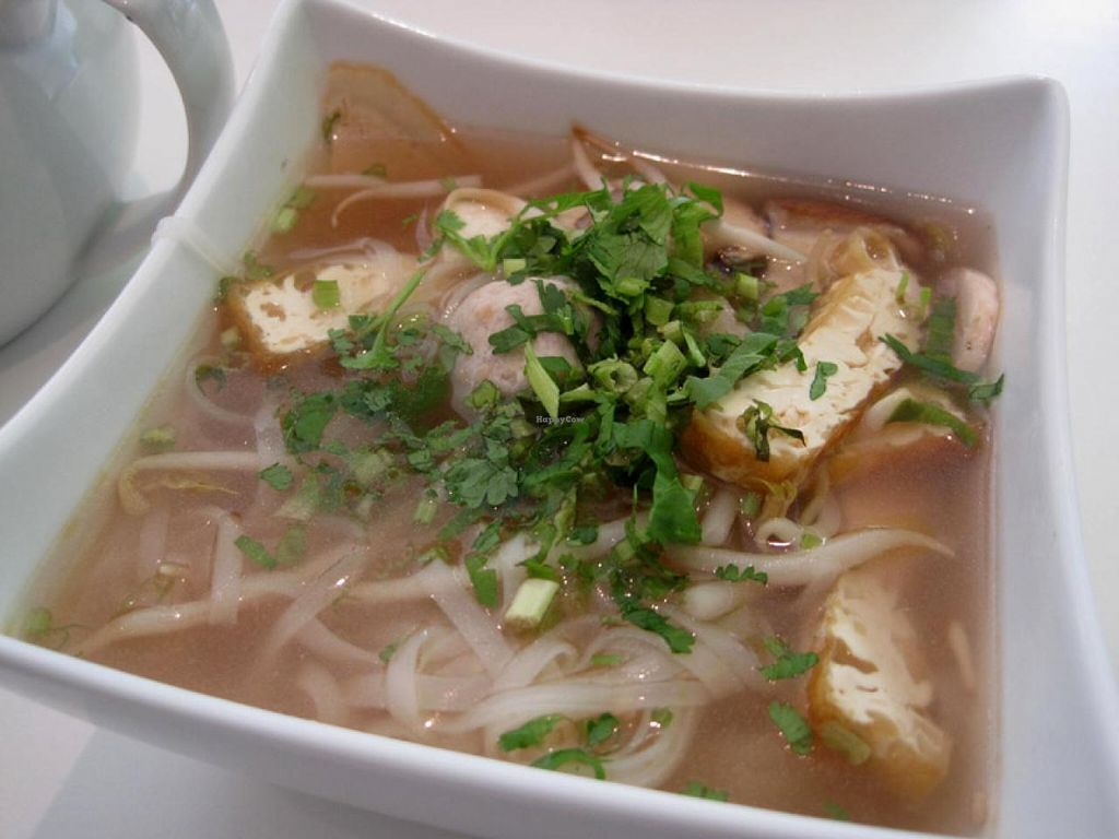 """Photo of CLOSED: Quan Bo De Cuisine Vegetarienne  by <a href=""""/members/profile/Babette"""">Babette</a> <br/>Pho soup (special small bowl) <br/> July 14, 2015  - <a href='/contact/abuse/image/42200/109251'>Report</a>"""