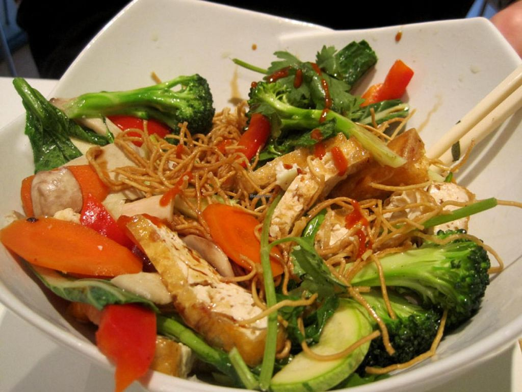 """Photo of CLOSED: Quan Bo De Cuisine Vegetarienne  by <a href=""""/members/profile/Babette"""">Babette</a> <br/>Vegetables stir-fried with mixed proteins and served on crispy noodles <br/> July 14, 2015  - <a href='/contact/abuse/image/42200/109252'>Report</a>"""